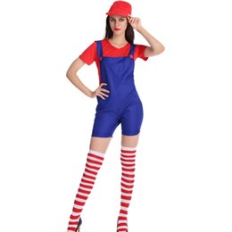 Wholesale Mario Luigi Costumes Adults - Super mario costume luigi Workmen costume clothing sexy plumber Fancy Dress Costumes super mario bros costumes for adults W531809A