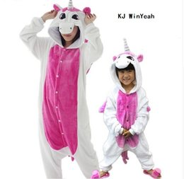 Wholesale Family Matching Winter Clothes - Animal pajamas one piece Family matching outfits Adult Mother and daughter clothes Totoro Dinosaur Unicorn Pyjamas women