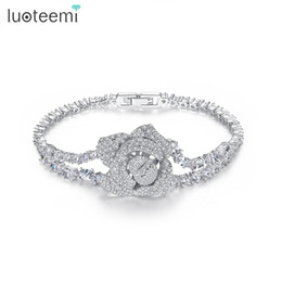 Wholesale Clear Crystal Claw Setting - LUOTEEMI Newest trendy Clear Color Zircon Crystal Bracelet Flower Shape Bracelets Bangles for Women Girls Gift