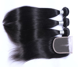 Wholesale Human Hair Wholesales Shipping - Wholesale Hair Extensions 8A Brazilian Peruvian Indian Malaysian 100% Human Virgin Straight Hair Weft with 4*4 Closure Free Shipping
