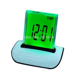 Wholesale Wholesale Thermometer Europe - Wholesale-7 LED Change Color Digital LCD Alarm Clock with Thermometer Calendar Snooze Careshine-US-400154