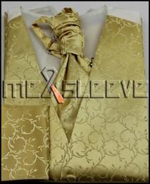 Wholesale Tuxedo Ascot Tie - Wholesale- free shipping high quality gold Men's Suit Tuxedo Vest and ascot tie Set