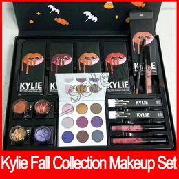 Wholesale Makeup Gift Sets Wholesale - 2017 Newest Kylie Fall Collection Bundle Kyshadow Purple Palette palette Ultra glow losse powder Makeup set Christmas gift box