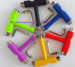 Wholesale Skateboard Tools - 100pcs Skate T TOOL Skateboard Scooter Longboard Tools Kick Scooter Mini T Wrench Spann All-in-one Skate Tools