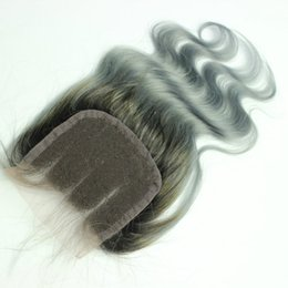 Wholesale Rooting Baby - 4x4 ombre 1B grey Human Hair Lace Top Closure With Dark Roots 130% density Brazilian Hair Grey Lace Closures With Baby Hair