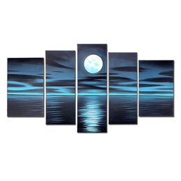 Wholesale picture full moon - VASTING ART 5-Panel 100% Hand-Painted Oil Paintings Full Moon Seascape Deep Blue Peaceful Modern Abstract Sea Artwork Ready Hang Home Decora