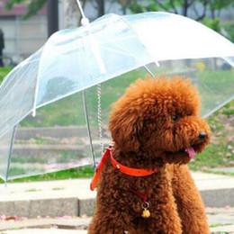 Wholesale Snow Gear - Useful Transparent PE Pet Umbrella Small Dog Umbrella Rain Gear with Dog Leads Keeps Pet Dry in Rain Snowing CCA6872 60pcs