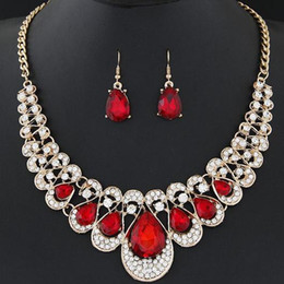 Wholesale Drop Gem Necklace - Bohemia Exotic Fashion Accessories Jewelry Sets Luxury Gem Retro Vintage Brand Charm Chokers Necklaces Water Drop Dangle Earrings For Women