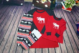 Wholesale Kids Santa Pajamas - 2017 New Christmas Deer Printed Household Family Suits Burst Pajamas Two Sets Dad Mom Son Clothing