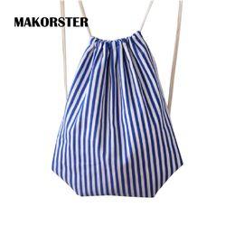 Wholesale Phone Carriers - Wholesale- MAKORSTER Fashion women backpack bag drawstring bagpacks Canvas Striped backpacks & carriers cheap printing backpack DJ0113