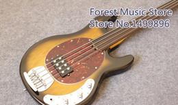 Wholesale Music Man Bass Guitars - Music Man 4 Strings Bass Erine Ball StringRay Vintage Sunburst Electric Bass Guitar Active Pickups Fretless Fingerboard Red Turtle Pickguard