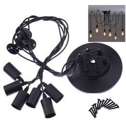douille de lampe à suspension Promotion 6 Têtes Vintage Plafonnier Industriel Edison Lumière Lustre Pendentif Éclairage pour La Décoration Intérieure LEG_401