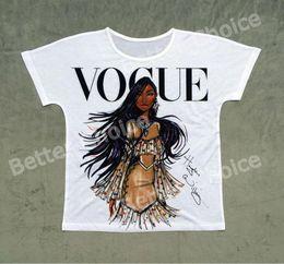 Wholesale Shirts V Skins - Fashion- Track Ship + Vintage Retro T-shirt Top Tee Personality Model Vogue Brown Skin Girl 1448