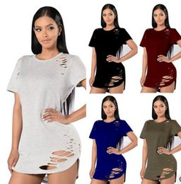Wholesale Womens Ripped Shirts - 2017 new Womens Casual T-Shirt Hollow Cut Out Hole Plain Ripped Distressed Tops Ladies Short Sleeve Blouse Pullover