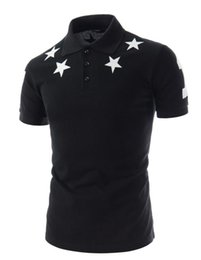 Wholesale Korean Fashion Shirts - Summer Korean Fashion Men Designer Label Tee shirts Pentacle Printing Short Sleeve Slim T Shirts For Men Youth T-shirt