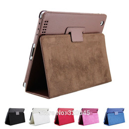 Wholesale Ipad2 Leather Cases - Business Flip Litchi Leather Case For new ipad 2 3 4 mini3 Smart Stand Holder For Apple ipad2 3 4 Magnetic Auto Sleep Cover for Air 2