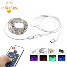 Wholesale Usb Led Controller - USB 5V RGB LED Strip 5050 60LEDs m TV Background Lighting with 17Key RF Controller 50cm   1m   2m Set