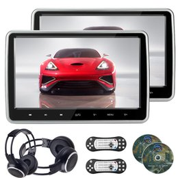 Wholesale Screen 32 - 2pcs 10.1 inch HD touch Screen auto Car DVD Headrest monitor DVD player & IR headphone USB SD HDMI FM 32 Bit Game Remote Control