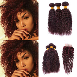 Wholesale Red Brazilian Curly Weave - Sexy Brazilian kinky curly weaves extension 8-30inch Brazilian marcel curly wave human hair bundles bohemian wine red bundles With Closure