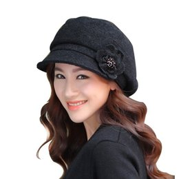 Wholesale Comfortable Winter Hats Men - Wholesale-2016 Best Goods Autumn Winter Beret Flower Lady Decoration Hat Warm Simple Wool Solid Adult Comfortable Trendy Popular Classic