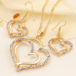 Wholesale Luxury Fashion Earrings - Romantic Wedding Creative Necklace Earring Set Fashion Luxury Crystal Charm Goldplated Silver Heart Accessories