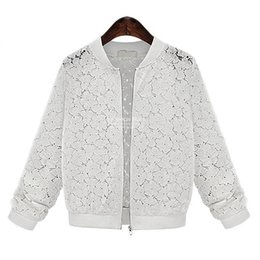 Wholesale Thin Lace Coats - Wholesale- Spring Autumn women basic coats Casual Hollow Out Thin female jacket Outwear Women black white lace Coat chaquetas mujer