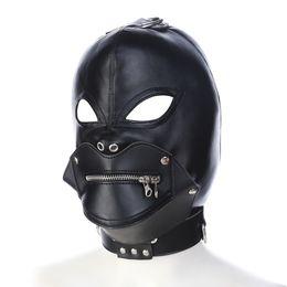Wholesale Muzzle Head Harness - 2017 Fetish Leather Slave Hoods Muzzles Stud Design Fetish BDSM Strict Bondage Gear Zipper Full Head Harness Mask