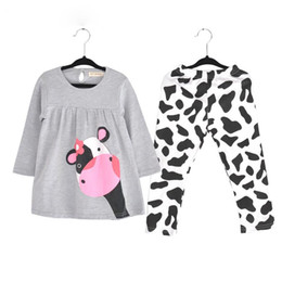 Wholesale Cow Neck Shirt - Wholesale- Winter Hot Sale Baby Girl Clothes Casual Long-sleeved T-shirt+pants Suit The Cow Suit Of The Girls