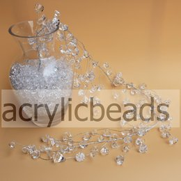 Wholesale Wedding Party Supplies China - China Factory 1.2M ( 4ft ) Acrylic Faceted Diamond Crystal Spray Wired Beaded Garland Branch Home Wedding Christmas Decoration 11*13mm