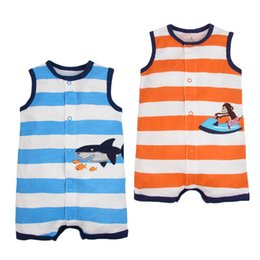 Wholesale Toddler Monkey Clothes - Baby boys Shark Jumpsuits Rompers Sleeveless Short Pants Newborn Infant Toddler Monkey Colorful Striped Button Clothes