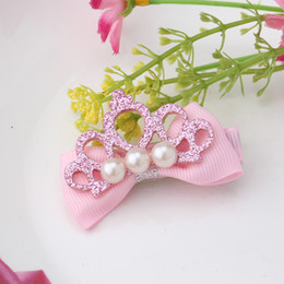 Wholesale Babys Headbands - Wholesale- Children Glitter Leather Hollow Crown Pearl Buttlefly Tie Headbands Hairpins Babys Hair Accessories Girl Ribbon Bowknot Hairclip
