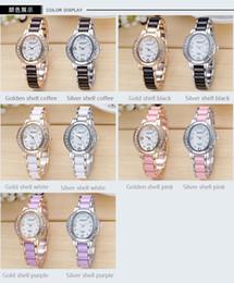 Wholesale Diamond Anti Mm - Free shipping hot new Anti-ceramic Watch Oval Diamond Dial Waterproof Quartz Watch Ladies modern fashion Watches