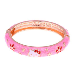 Wholesale New Baby Girl Gifts - Hello Kitty cuff bracelets love jewelry flower enamel gold color kids bracelet girls baby bangle bracelet charm jewelrys new