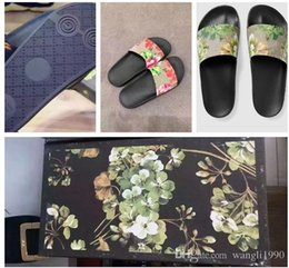 Wholesale Sandals Men Pu - Fashion slide sandals slippers for men and women WITH BOX 2017 Hot Designer flower printed unisex beach flip flops slipper BEST QUALITY