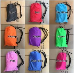 Wholesale Travel Cots - YOU Drop shipping Fast Inflatable Lazy bag Sleeping Air Bag Camping Portable Air Sofa Beach Bed Air Hammock Nylon Banana Sofa