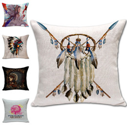Wholesale Indian Beds - Indian Skull Dreamcatcher Pillow Case Cushion cover Linen Cotton Throw Pillowcases sofa Bed Pillow covers Drop shipping PW432