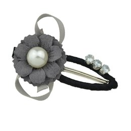Wholesale Large Cloth Flower - Latest Design Fashion Hair Jewelry Wrap Cloth Flower 1 Large Pearl and 3 Diamonds Metal Hairpins for Women