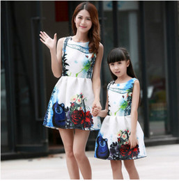 Wholesale Womens Summer Vest - Mother and daughter dress Girls printed vest princess dress small sweet wind womens vest dress 2017 summer 10 color Family clothes T1291