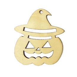Wholesale Wooden Easter Decorations Wholesale - Wooden Tags Pumpkin Face Shape Party Easter Halloween Decoration Halloween Laser Engraving Wood Hanger Gift Tags Ornament