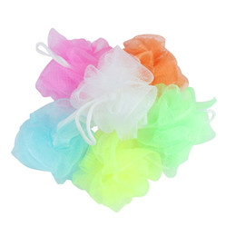 Wholesale Relax Bath - Wholesale-Random Colors BODY PUFF SPONGES NET MESH BALL HOME SCRUNCHIE MASSAGE RELAX