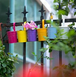 Wholesale Metal Flower Holders - Hanging Flower Pots Garden Pots Balcony Planters Metal Bucket Flower Holders with Hook Metal Bucket Flower Pot CCA7036 50pcs