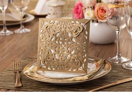 Wholesale Blank Invitation Paper - Wedding Invitations Gold Paper Blank Inner Sheet Laser Cutting Wedding Invitation Flowers Hollow Wedding Cards