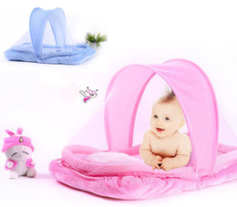 Wholesale Folding Baby Crib Portable - Wholesale-fashion new Infants Folding Mosquito Net Insect multi-function Portable Baby Bed Crib Netting Canopy Cushion Mattress + Pillow