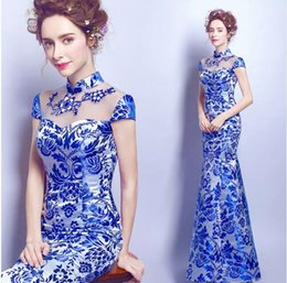 Wholesale blue and white porcelain dress chinese oriental with lace wedding cheongsam modern designer traditional dresses women qipao