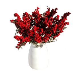 Wholesale Artificial Berry Plants - Wholesale-5 Bouquet Artificial Flowers Wedding Decoration Auspicious Christmas Fruits Rich Fruit For Home Decor Plant Berries