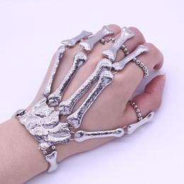 Wholesale Skeleton Hand Bones Bracelet - 2016 Christmas Halloween Gift Nightclub Punk Bead Finger Bracelet Gothic Skull Skeleton Bone Hand Finger Bracelet Dropshipping