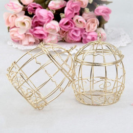 Wholesale Birdcage Iron - Gold Wedding Favor Box European creative romantic wrought iron birdcage wedding candy box tin box for Wedding Favors 2017 New