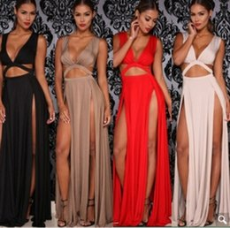 Wholesale Double Maxi Long Dress - 2017 Cropped Deep V Neck Women Sexy Two Side High Slit Maxi Dress Double Split Cut Out Evening Prom Party Long Dress