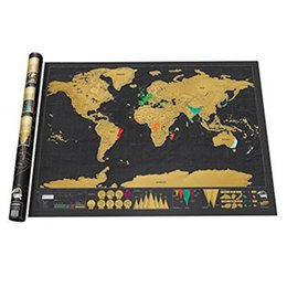 Wholesale Poster World - Wholesale- Large Size Personalized Black Scratch-Off World Map Deluxe Poster Travel Hot