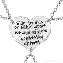 Wholesale Connecting Heart Necklace - 2017NEWFriendship Jewelry Hand Stamped Side By Side Or Miles Apart We Are Sisters Connected At Heart Sister BFF Necklace